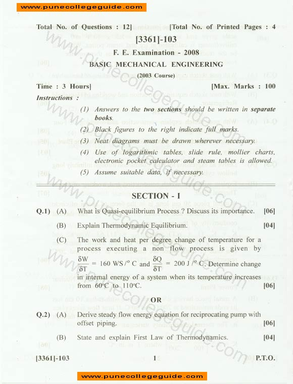 Basic Mechanical Engineering question paper